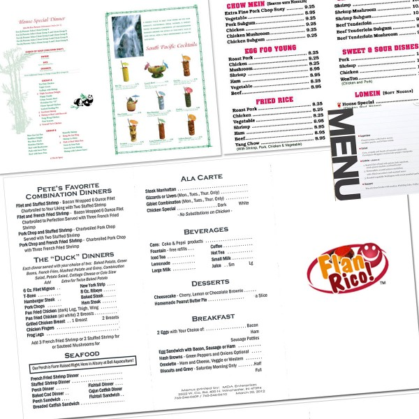 Take-Out Menus